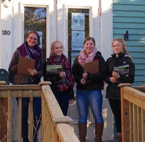 From the left, Karyn, Pascale, Olivia and Michelle leaving Conserver House for another evening of surveying