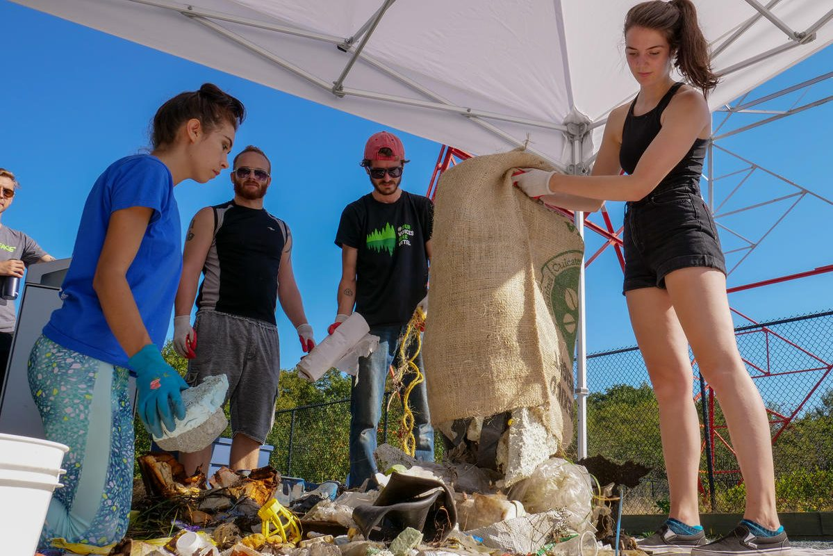 For World Clean-up Day, Greenpeace alongside community allies, volunteers, and a Greenpeace local group, coordinate a clean-up activity and plastic polluter brand audit. The audit seeks to identify the major corporate contributors to plastic waste polluting shorelines, green spaces and communities. Photo credited to Amy Scaife / Greenpeace